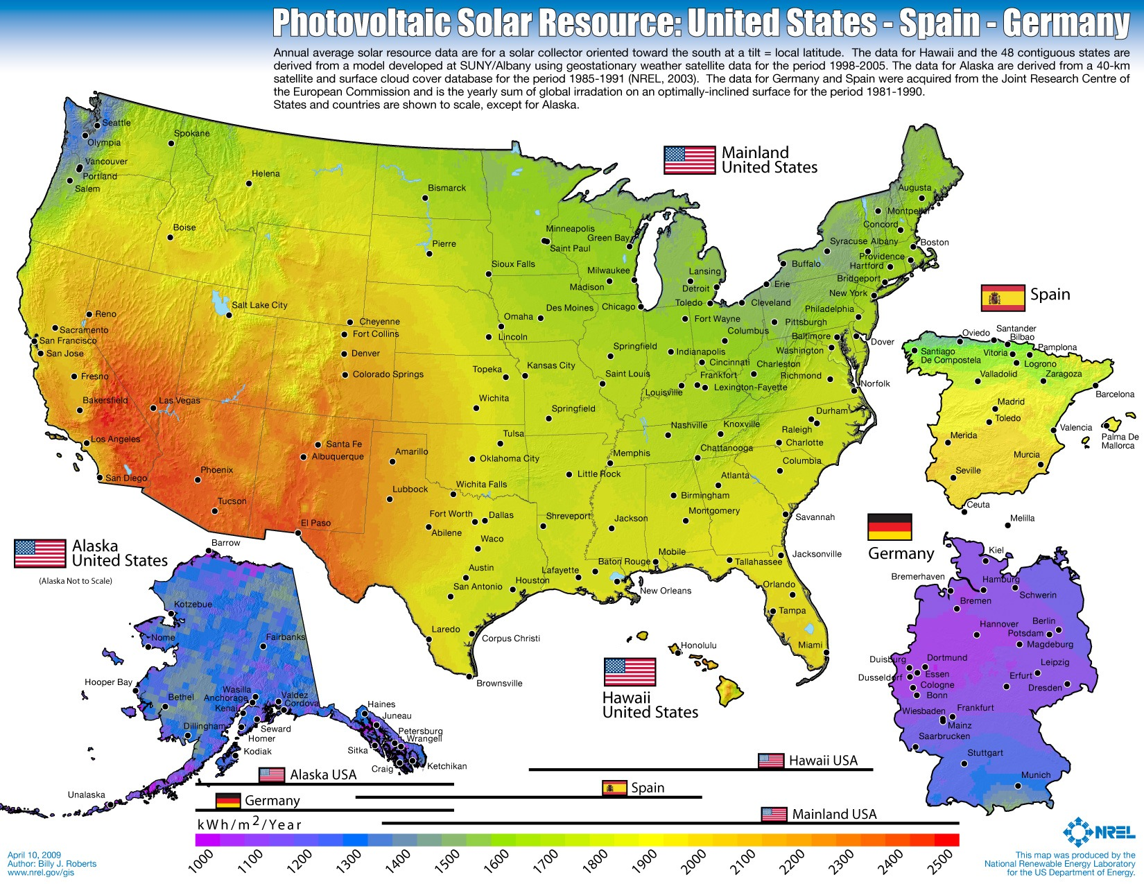 Solar performance in winter for US, Spain, Germany
