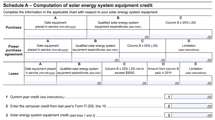 NY Solar Tax Credit - Schedule A