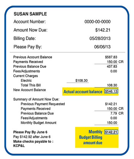 Example of a budget bill from KCP&L