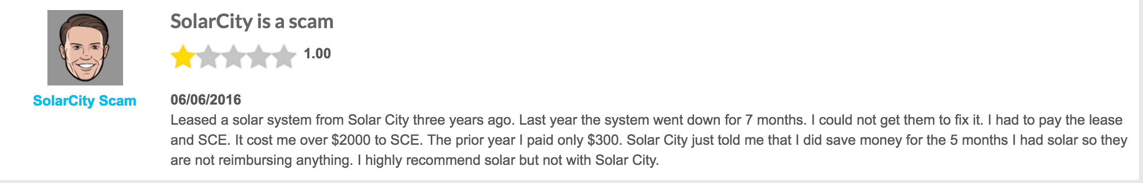 screenshot of solarcity review=
