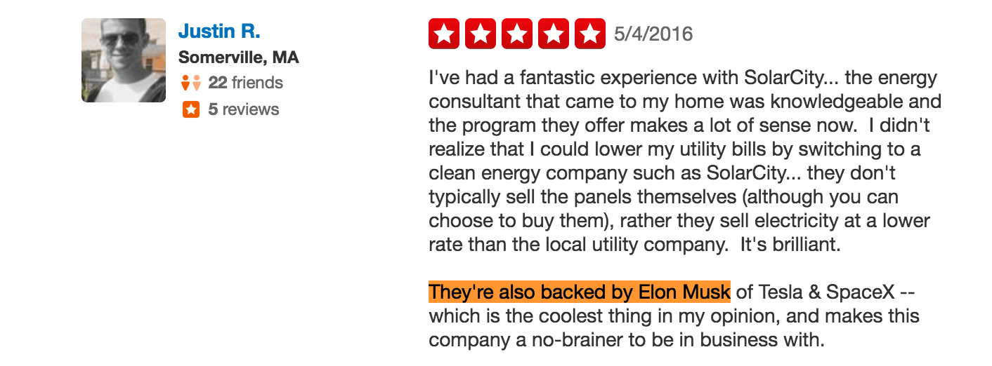 screenshot of solarcity review