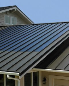 Thin film solar on a standing seam metal roof.