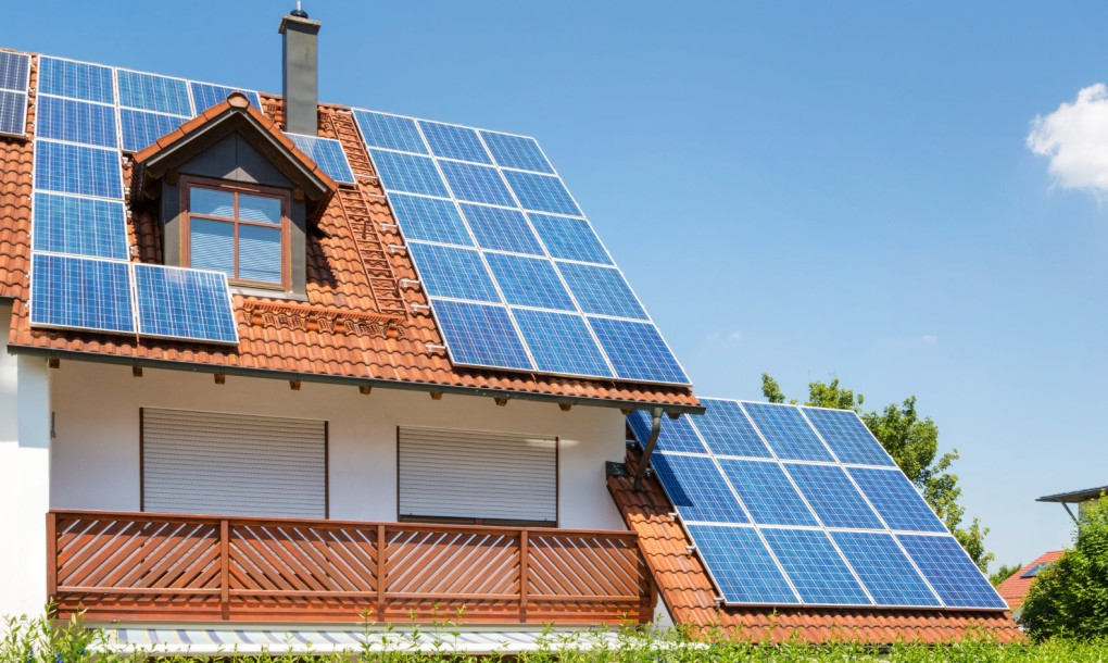 solar panels on roof tiles