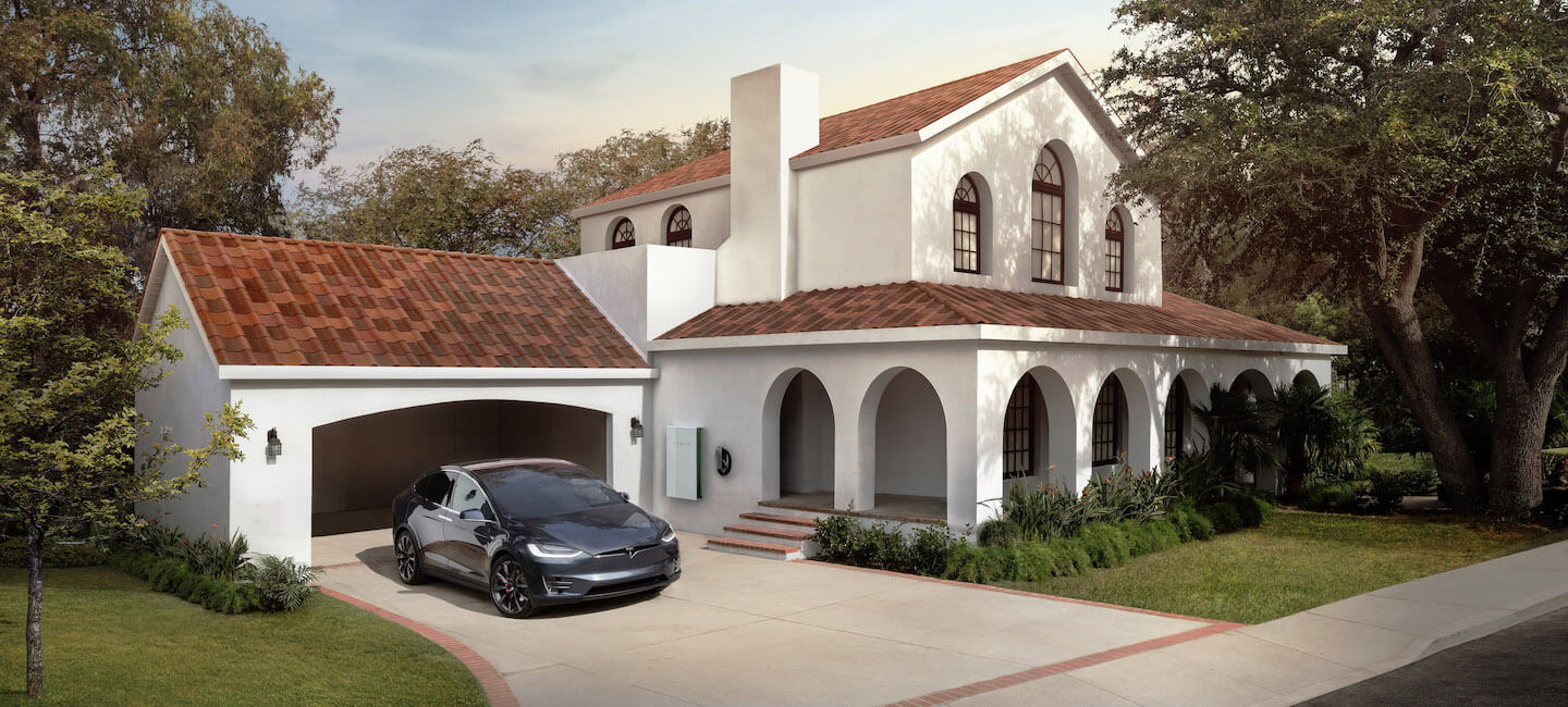 tesla solar roof and car
