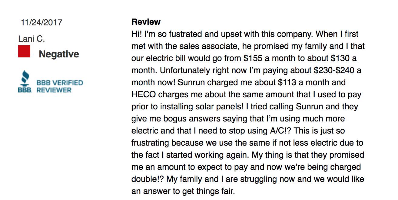 bbb customer review of sunrun