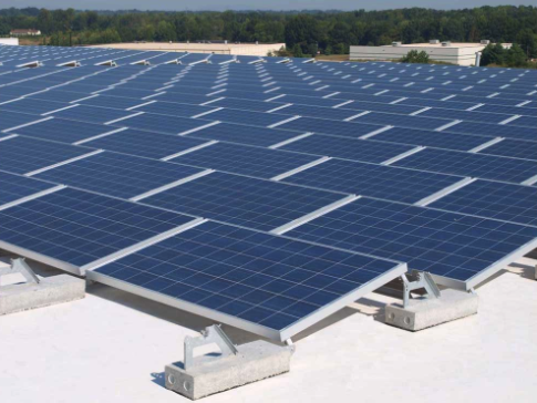 concrete and rubber roof solar panels