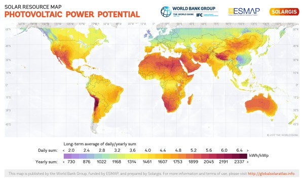 world solar photovoltaic potential heat map