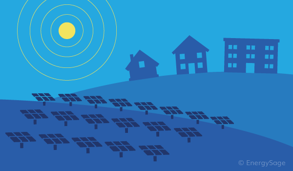 community solar panels and buildings