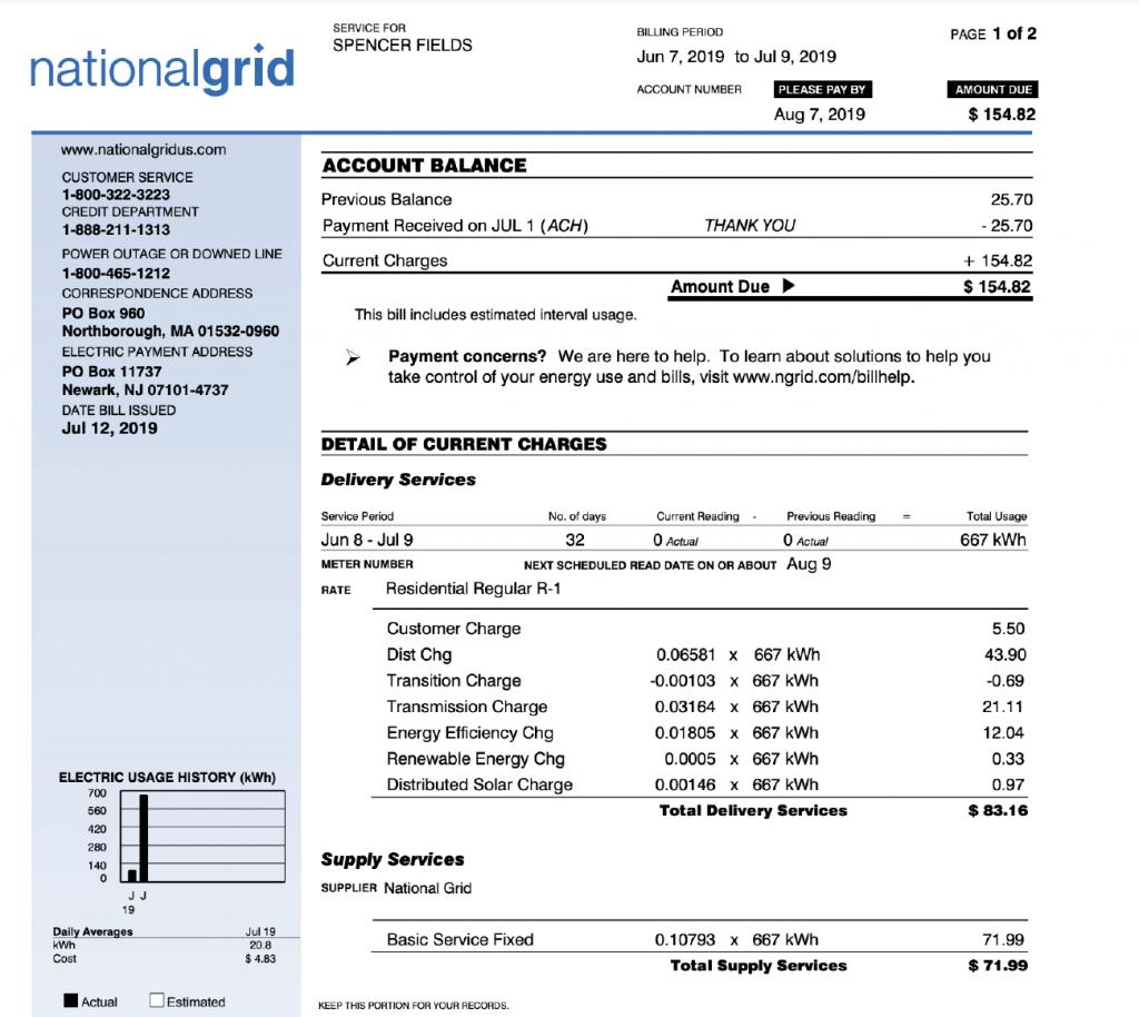 2019 National Grid Bill