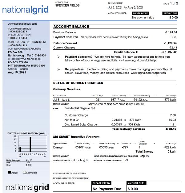 National Grid 2021 Bill
